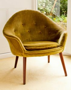 Velvet Armchair Cocktail Chair Danish Mid Century 1940 1950 Stuhl Chaise Sessel |