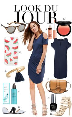 Look Du Jour: Ein Lied, das dich liebt!. Blue dress+nude heeled sandals or flat shoes+camel shoulder bag+carey sunglasses. Summer outfit 2016