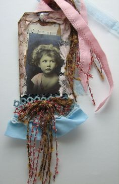 Vintage Girl Blue Shabby HANG/GIFT TAG SCRAPBOOK ALTERED ART COLLAGE MIXED MEDIA