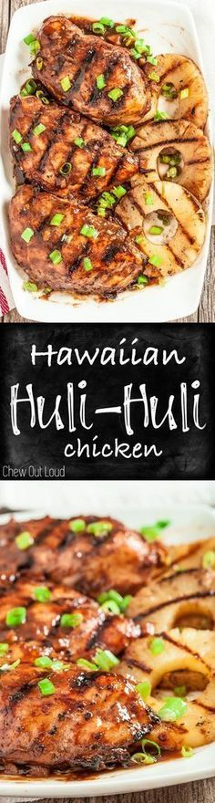 Don't let the season end without trying this Hawaiian Huli Huli Chicken! The sauce is amazing. Healthy, mouthwatering, BIG flavors for your grill. If there's one grilled chicken to try, it's Hawaiian Huli Huli Chicken. Turkey Recipes, Chicken Recipes, Dinner Recipes, Chicken Flavors, Entree Recipes, Grilling Recipes, Cooking Recipes, Healthy Recipes, Easy Recipes