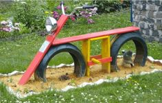 Encouraging Play Encourages a Child's Development – Playground Fun For Kids Backyard Playground, Backyard Games, Backyard Projects, Outdoor Projects, Playground Ideas, Outdoor Fun For Kids, Outdoor Play Areas, Backyard For Kids, Tyres Recycle