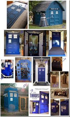 10 Doctor Who TARDIS Crafts. I want the tardis chicken coop. Doctor Who Craft, Doctor Gifts, Doctor Who Tardis, 10th Doctor, Diy Doctor, Doctor Who Decor, Doctor Who Quilt, Don't Blink, Blue Box