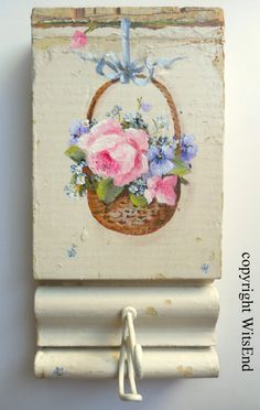 Roses basket painting original ooak antique by 4WitsEnd on Etsy