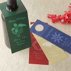 Holiday Greetings Personalized Wine Bottle Tags