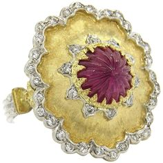Buccellati Carved Ruby Diamond Gold Ring | See more rare vintage More Rings at https://www.1stdibs.com/jewelry/rings/more-rings