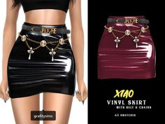 { grafity } — Xiao Vinyl Skirt with Belt & Chains 65 swatches ; Sims 4 Cc Eyes, Sims Cc, Sims 4 Mods Clothes, Sims 4 Clothing, Sims 4 Download Free, Sims 4 Body Mods, Sims 4 Black Hair, The Sims 4 Pc, Vinyl Skirting