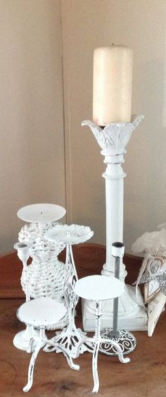 7 Shabby Chic Candle Holders Shabby Chic White Gray by TinkerMelz, $45.00