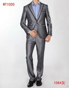 One button peak lapel jetted pocket trimmed suit
