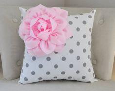 Flower Polka Dot Pillow, Personalized Flower Pillows, Handmade gift, Natural nursery home decor, Baby decor, Baby Shower Gift