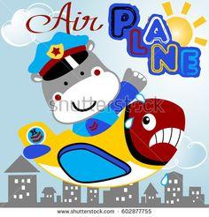 heavy pilot and grimace plane, kids t shirt design, wallpaper, vector cartoon illustration