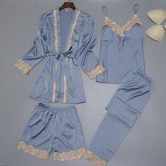 Buy Women Silk Satin Sleepwear Set New Robe+Slip Top+Pant+Shorts 4 Pieces  Lace Nightwear Summer Pajama Set ELegant Home Clothing f67b67e3c
