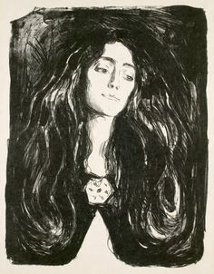 After 1902 Munch's lithographs were mainly drawn on paper. There were, however, some exceptions, such as this portrait of Eva Mudocci from 1903, executed d...