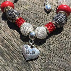 Mum European Charm Bracelet, European Bracelet Gift For Mum Birthday Gift, Mother Bracelet, Red Bracelets, Big Hole Charm Bead Pandora Style #sunnydazestudios #bexhill #handmadejewellery #mumgift #charmbracelet #jewellery