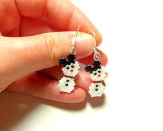 Mickey Mouse Snowman Beaded Earrings by MigotoChou, $17.00