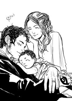 "This is too adorable! Will and Tessa with baby James by Cassandra Jean. ""Cassandra Jean in fact drew me an adorbs picture of Will, aged around Tessa, and baby James. Can you really say this guy had such a terrible life? Cassandra Jean, Livros Cassandra Clare, Cassandra Clare Shadowhunters, Cassandra Clare Books, Clockwork Princess, The Infernal Devices, The Mortal Instruments, Clary E Jace, Clockwork Angel"