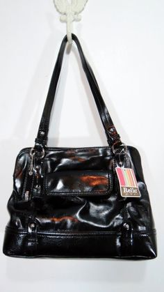 New Relic Black Satchel Purse Regina Per Tote Nwt Retail 48