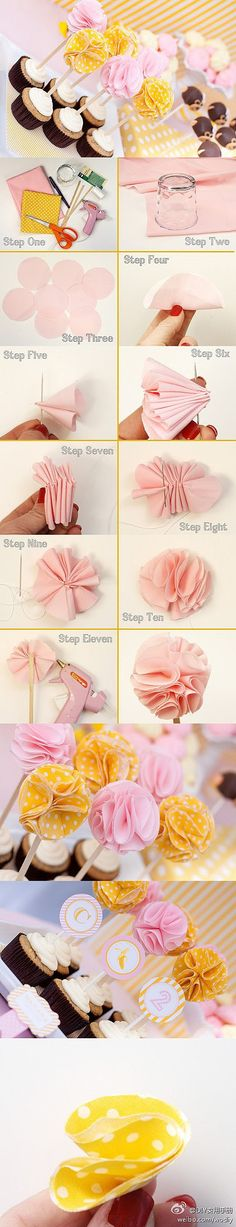 Cupcake toppers DIY flowers --- for her Letter D (? Cloth Flowers, Diy Flowers, Fabric Flowers, Paper Flowers, Flower Diy, Flower Petals, Fabric Poms, Tissue Flowers, Flower Ball