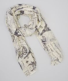 Look at this Cream Vintage Europe Scarf on #zulily today!