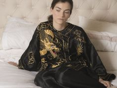 Asian Gold Embroidered Black Silk Pajamas | Recollect Vintage