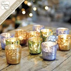 These gorgeous glittery votive holders are our favorites for decorating a coffee table or a dining room! They make great bud vases too!