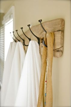drift wood coat rack or towel holder for bathroom