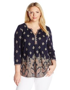 Lucky Brand Women's Plus-Size Placed Paisley Print Top ** This is an Amazon Affiliate link. Learn more by visiting the image link.