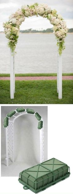 Wedding Arch Flowers – Foam Cages for Arch Flowers Free Tutorials www.wedding-flowe… Learn how to make bridal bouquets, corsages, boutonnieres, reception table centerpieces and church decorations. Buy wholesale fresh flowers and discount florist supplies. Wedding Reception Centerpieces, Flower Centerpieces, Wedding Bouquets, Flower Arrangements, Wedding Flowers, Wedding Decorations, Church Decorations, Reception Ideas, Reception Table