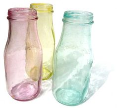 Tinted Glass Bottles from Claudine Hellmuth's Blog: Retro * Whimsical Art and Illustration