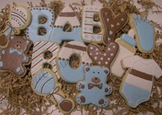 Baby Boy Shower Sugar Cookies https://www.facebook.com/sweetcharleyconfections