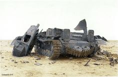 Destroyed panzer in Afrika desert. Turret number 424. My colored picture.