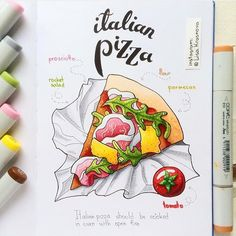 #Pizza, please! Getting hungry thanks to @lisa.krasnova's delicious drawing in her #Leuchtturm1917! Care packages are welcome #lifeiscolour