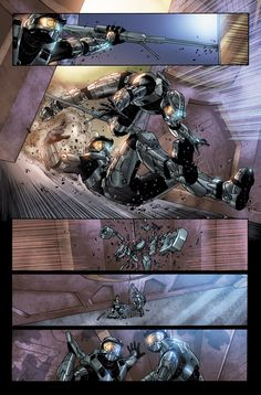 Page from Halo Blood Line Written by the great Fred Van Lente Pecilled and inked by me Wonderfully colored by Ulises Arreola They are in Halo Game, Halo 3, Funny Gaming Memes, Funny Games, Odst Halo, Team Fortress 2 Medic, Halo Spartan, Halo Armor, Halo Master Chief