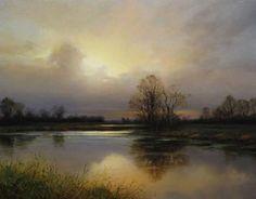 """""""Confluence at dusk"""" By Renato Muccillo, from Canada - oil on mounted linen; 14 x 18 in - http://renatomuccillo.com/home.html https://www.facebook.com/pages/Renato-Muccillo-Fine-Arts-Studio/104517059583818"""