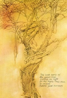 alan lee_faeries_the apple-tree-man. Fantasy Dragon, Fantasy Art, Tolkien, La Reverie, Alan Lee, Brian Froud, Pre Raphaelite, Celtic Art, Fantasy Creatures