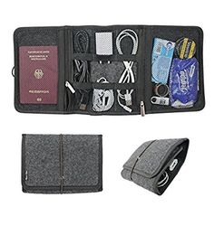 Classic Slash Reiseorganizer - Kabelorganizer - Reisebrieftasche für Kabelordnung in der Tasche / für Koffer - 20cm*15cm - Filz - grau