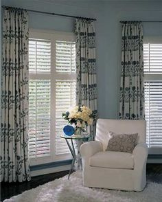 Window Treatments with Plantation Shutters. Can't decide if Plantation shutters even really need curtains. If so, 2 small rods on each side, not across the top? Shutters With Curtains, Interior Window Shutters, Interior Windows, Wood Shutters, Bedroom Shutters, Window Blinds, Room Window, Wood Blinds, Small Basement Remodel