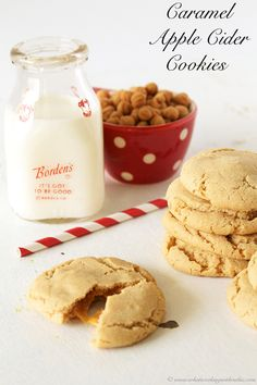 Caramel Apple Cider Cookies are just like fall baked into a delicious cookie! by www.whatscookingwithruthie.com #recipes #cookies #caramel