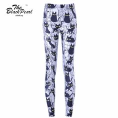 Womens Trousers Fashion Cute cartoon black cat Pant Capris Cute sportswear Fitness