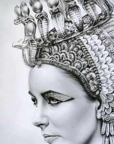 Cleopatra (Elizabeth Taylor) in pencil by Ileana Hunter