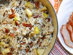 Harvest Rice w/Apples and Pecans - Harvest Rice is reminiscent of fall, with a mixture of brown and wild rice, tossed with tart apples and buttery toasted pecans. (Easily veganized)