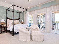 Fabric Covered Walls Bedroom | Luxury Palm Beach Mansion Selling For an Extravagant $38M...gorgeous....Cherie
