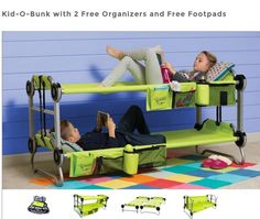 Portable Bunk Beds For Kids If you have city kids that feel uncomfortable on the grass or mud when camping, this portable Kid-O-Bunk bed will be a life saver from all the whining. kid-o-bunk-portable-bunk-beds-for-camping-also-converts-into-a-sofa-thumb Camping Glamping, Camping Life, Camping With Kids, Family Camping, Camping Hacks, Outdoor Camping, Camping Ideas, Camping Trailers, Camping Supplies