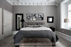Grey and white interior design ideas grey and white bedroom ideas . grey and white interior design ideas grey bedroom Black And Grey Bedroom, Grey Bedroom Design, White Bedroom Decor, Grey Room, Room Ideas Bedroom, Small Room Bedroom, Home Decor Bedroom, Modern Bedroom, Small Rooms
