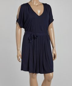 Look at this Loveappella Navy Cutout Dress - Plus on #zulily today!