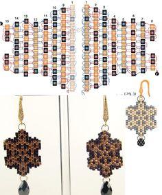 Схема плетения сережек из бисера