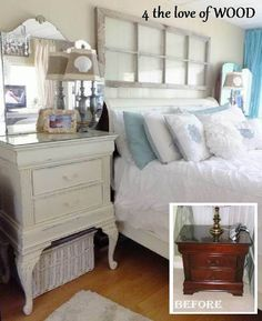 Pretty up a bedroom Put queen anne legs on nightstand and paint. Love the blue and white color scheme, arched mirror, and the distressed window frame above bed