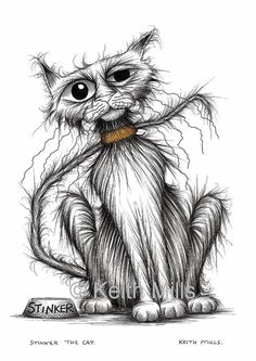 Stinker the cat Print download Shabby scruffy tatty moggie with thin tail and grumpy face who smells a lot Amusing funny kitty picture