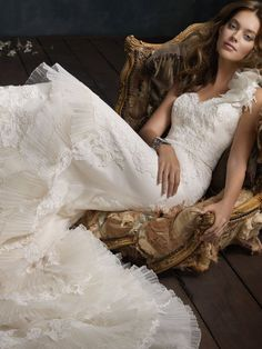 Ivory Pleated Silk Organza Sweetheart Bridal Trumpet Gown (Style 4401)