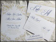 Royal Victorian Scroll Wedding Invitation Set , NEW DESIGN by RunkPock Designs. $2.00, via Etsy.
