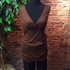SZ LGBROWN DIANE VON FURSTENBERG LYOCELL BLOUSE Super soft and very feminine.. Ruched sides and extra long..This blouse will be great to wear alone or as a layering piece. Beautiful and gently used. Diane von Furstenberg Tops Blouses